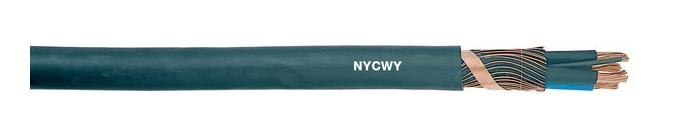 NYCWY Bare Copper Solid Conductor LV Cable , PVC Underground Low Voltage Power Cable